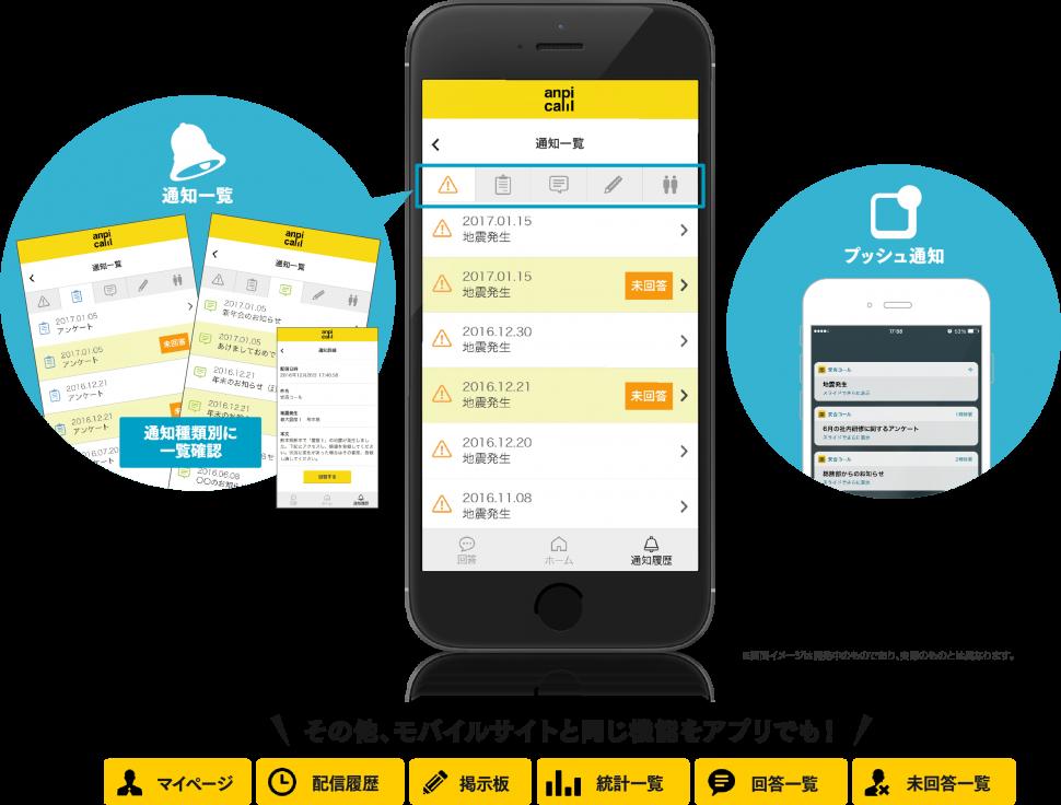 対応状況も一目でわかる!過去の通知情報を災害情報やアンケートなどの種類別に一覧で確認できます。閲覧、回答などの対応状況も一目でわかります。情報をリアルタイムにキャッチ!災害情報やアンケートの配信、掲示板への投稿があると、プッシュ通知で更新情報をお知らせします。その他、モバイルサイトと同じ機能をアプリでも!
